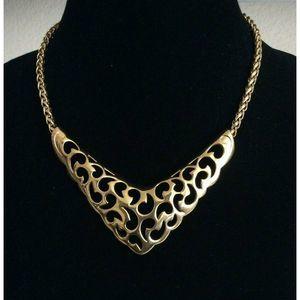 Trifari Ornate Cut Out Gold Bib Collar Necklace